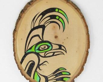 Green Wood Burned Eagle