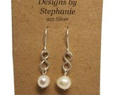 925 Sterling Silver Freshwater Pearl Earrings, Infinity link and real genuine white freshwater pearl drop earrings - Designs by Stephanie