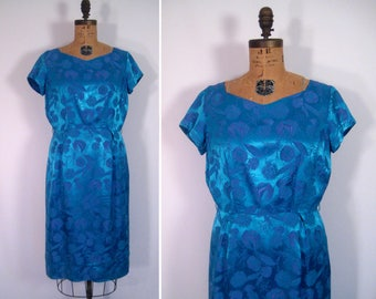 1950s 1960s blue brocade wiggle dress • mid-century floral print cocktail dress • vintage thanks for the night dress