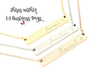 Personalized Bar Necklace - Rose Gold, Gold, Silver - Plated Stainless Steel - Custom My Word Jewelry - Hand Stamped Engraved Gift for Her