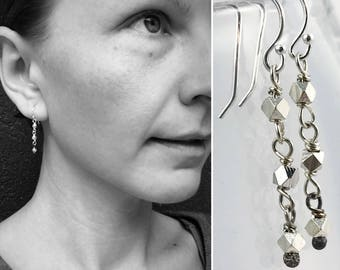 "Geometric Silver Nugget Earrings ""Triad"" - Fine Silver Hexagons and Sterling Silver - Minimalist Drop Dangle Earrings"