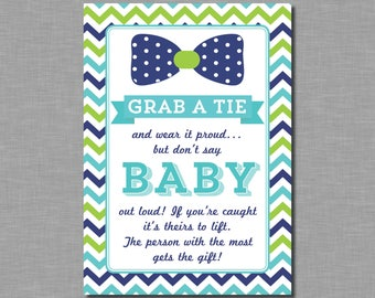 Wonderful Grab A Tie Game Donu0027t Say Baby Game Bow Tie Baby Shower Games Grab
