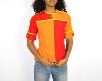 Color Blocked Top - Silk Princess Seams Fitted Button Up Iconic Red 1980s Print Costume FAST FOOD Flight Stewardess Size 6 In And Out Orange