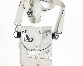Crazy Cat Lady, Crossbody Bag, Cat Fabric HIP Mini, Cat Lovers Purse, Small Purse, Hip Pack, Women Hip Bag, Purse for Traveling, Mini Purse