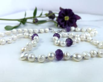 Contemporary Pearl & Amethyst hand-knotted necklace. June and February Birthstone - Classic style with a modern twist