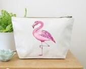 Flamingo Canvas Wash Bag, Large Zipper Pouch, Makeup Bag, Toiletry Bag, Accessory Bag, Flamingo Gift