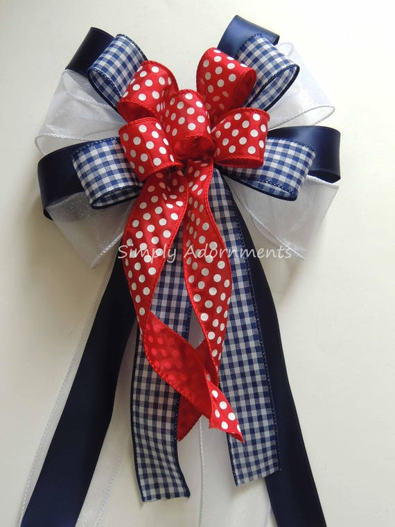 Navy Red White July 4th Party Decor Patriotic Wreath Bow Fourth of July Door hanger Bow Gingham and Dots Birthday Party decor Dots Check bow
