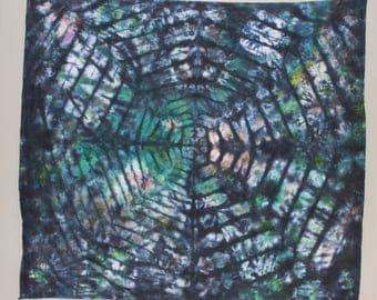 "Psychedelic Ice Dye Tapestry Tie Dye Tapestry 58x58"" Black Blue Green"