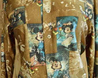 1970s Vintage Disney Three Muskateers Shirt, Seventies Brown & Blue Picture Print Disco Shirt, Kennington Mickey and Minnie Mouse Shirt