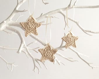 Eco-friendly Decorations / Star Christmas Tree Ornaments / Natural Organic Decorations / Cream Neutral / Set of Three