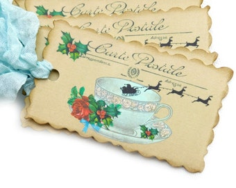 Christmas Tea Party Favor Tags, Blue, Cream, Santa Gift Tags, Holly, Roses, Whimsical, Reindeer, Holiday Hang Tags, Set of 10