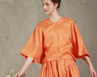 linen blouse tunic in orange, bishop sleeve shirt, linen shirt, linen tunic, linen kimono, plus size top, linen top, V neck blouse