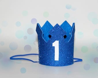 1st Birthday Crown // Boys First Birthday Crown // Blue & White 1st Birthday // Ready to Ship // by Born TuTu Rock