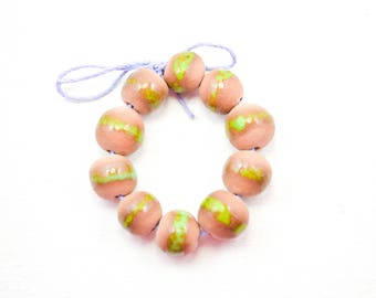 10 Handcrafted Ceramic Beads - Grunge - Unique Assortment - Earthy - Striped- Handmade - Round- Pottery beads - Brownstone - Bead Set  Y477