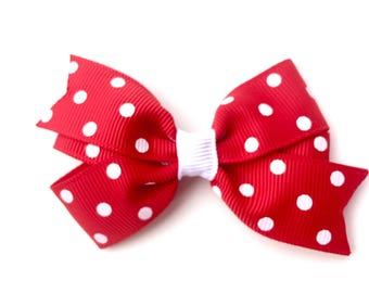 Red polka dot hair bow - red & white bow, toddler bow, 3 inch bows, pinwheel bow, girls hair bows, girls bows, baby bows, red hair bows