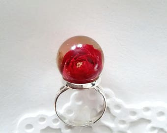 Rose ring Real rose resin ring Silver ring Real flower ring adjustable Red rose for her Terrarium ring sphere Sustainable jewelry made in