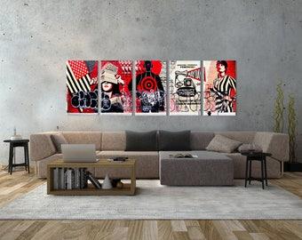 Soho New York triple graffiti canvas photo 5 panels art work