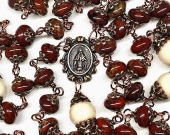 Catholic Five Decade Unbreakable Rosary,Copper,Poppy Jasper Rondelles & Larger Beige Riverstone Beads,Christian Faith,Prayer Beads,