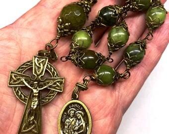 Tenner Rosary, Vintage Bronze Celtic Crucifix, Olive Jade Beads, Decade Rosary, Pocket Rosary, Catholic Faith, Christian Faith, Prayer Beads