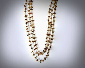 multi strand brown chip necklace extra long beaded necklace triple strand necklace beaded link necklace brown jewelry
