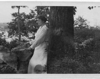 Old Photo Woman Enjoying the View Stone Wall 1910s Photograph Snapshot vintage