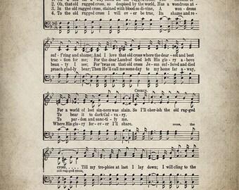 The Old Rugged Cross Hymn Lyrics   Sheet Music Art   Hymn Art   Hymnal Sheet