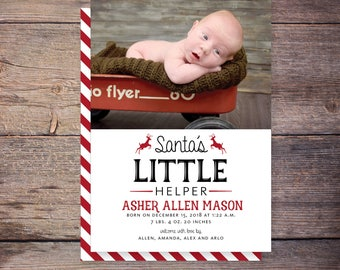 Christmas birth announcement, holiday card, birth announcement, baby christmas card, PRINTABLE digital file – Asher