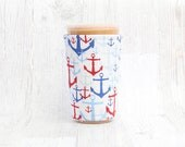 Custom Listing for Courtney Nautical Cup Cozy, Coffee Cozy, Cup Sleeve