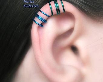 CHOOSE COLOR Blue/Green Four Rings No Piercing Upper Ear Cartilage Cuff/ piercing imitation/ fake faux helix piercing/ohrclip ear manschette