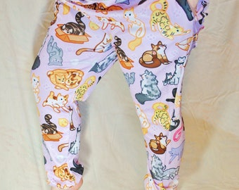 Kitty Cats Pajama Pants! Stretchy & Comfy Jogger Style Pants with Drawstring and Pockets