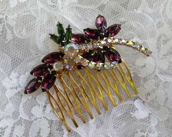 VINTAGE RHINESTONE BRIDAL Hair Comb Bride Bridesmaids Mother Hair Accessories Elegant Art Nouveau Deep Purple Eggplant Olive One of a Kind