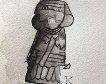 Original outsider art brush and ink drawing Lady Pharaoh
