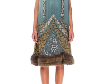 1920s Beaded Dress With Fur Hem And Lamé Shawl Size: