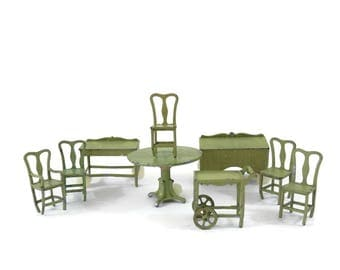 Tootsie Toy Doll Furniture 9 pc Green Dining Room Set Table and 5 Chairs, Server, Buffet and Tea Trolley