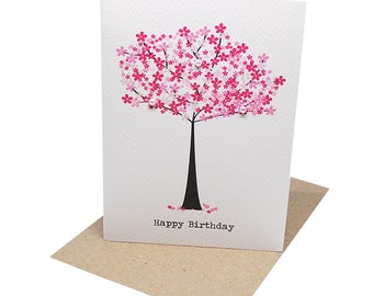 Birthday Card Female - Pink Cherry Blossom Tree - HBF146 / Happy Birthday Card for the Birthday Girl / Female / Mum