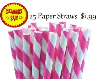 Hot Pink and White Striped Paper Straws