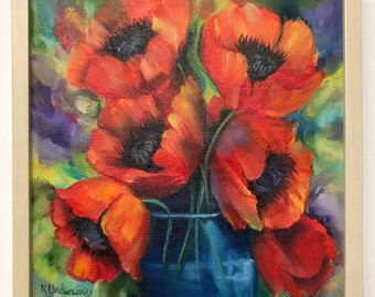 Fun Poppies Oil Painting Framed