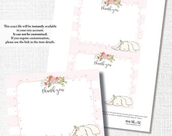 PINK BUNNY thank you, note card, girl baby shower, birthday, instant download, diy, printable, digital file