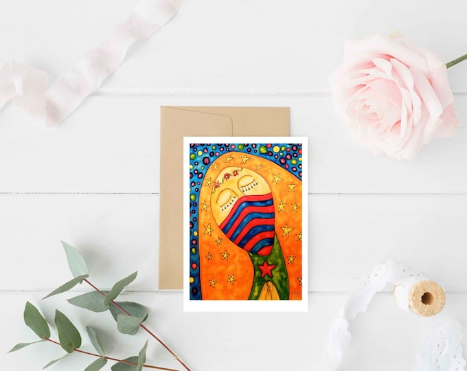 "Greeting Card ""Queen"" / Christmas Card Holiday Gift / Guadalupe Mary Holy Mother Religious Baptism Mexican Folk Art / Print at Home Artwork"