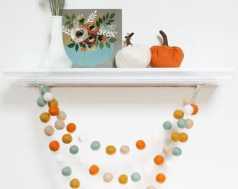 Felt Ball Garland Autumn, Pom Pom Garland, Fall Decor, Felt Balls, Bunting Banner, Thanksgiving Party Decor, Autumn Garland, Rustic Fall