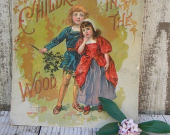 Vintage Children In The Wood storybook. Softcover illustrated childrens storybook. Victorian storybook