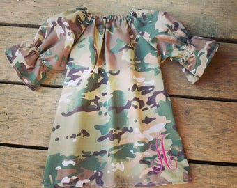 Camo girls dress, camouflage monogrammed dress, camo baby dress, deer hunting, girls, camo and pink, fall dress, monogram