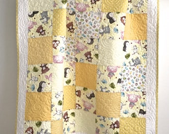 Baby Patchwork Quilt featuring Snuggle Buddies for Quilting Treasures Yellow Grey Brown Green Pink White
