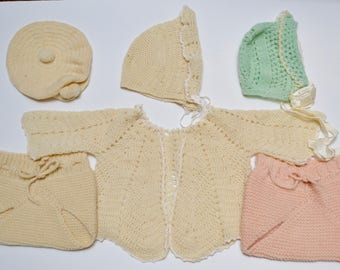 vintage hand knit / crochet baby clothes and hats: wool diaper covers, bonnets, cap, and cape