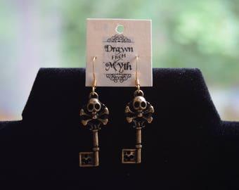 Pirate Skull Key Earrings