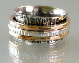 Two Tone Spinner Ring with Three Spinners, Wedding Band,  Meditation Ring, Ring that Spins, Silver and Gold Spinner Band, Anxiety Ring