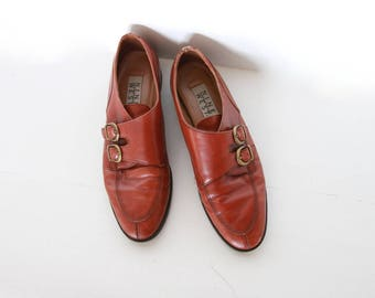Vintage Brown Leather and Brass Buckle Shoes / Vintage 80s Nine West Oxfords / Size 9