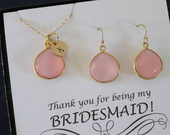 Monogram Bridesmaid Necklace and Earring set Pink, Bridesmaid Gift, Blush Pink Gemstone, 14k Gold Filled, Initial Jewelry, Personalized