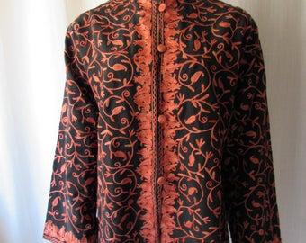 Asian Inspired silkJacket  orange crewel Neru neck covered frog buttons