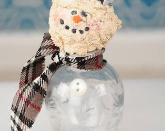 Salt Shaker Snowman, Vintage Salt Shaker Snowman, Whimsical Vintage Salt Shaker Snowman, Recycled Snowman, Recycled Snowmen